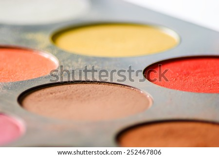 Eyeshadow palette - Close up - stock photo