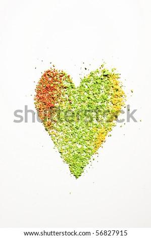 eyeshadow powder heart - stock photo