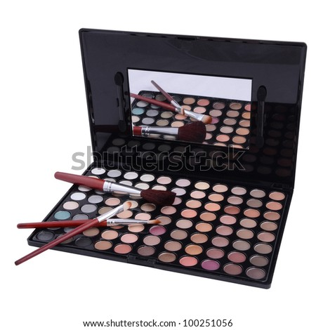 eyeshadows with brush isolated on white background - stock photo