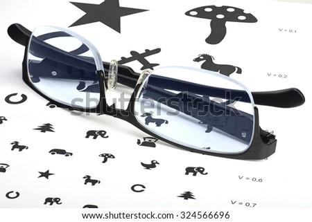 Eyesight test Orlova chart with glasses - stock photo