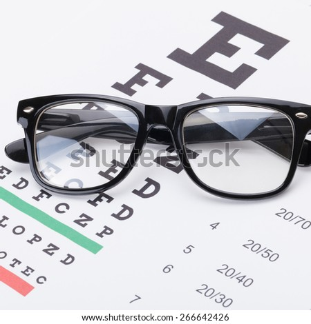 Eyesight test table and classic glasses over it - close up shot - stock photo