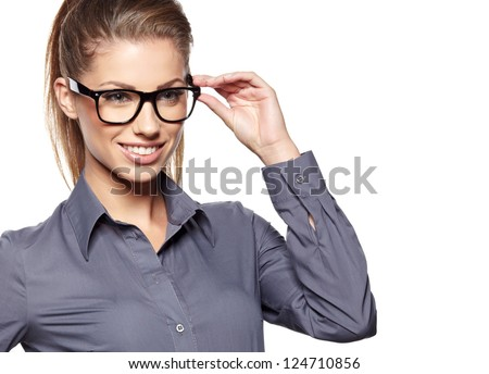 Eyewear glasses woman closeup portrait. Woman wearing glasses holding frame in close-up. - stock photo