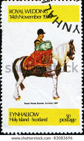 EYNHALLOW - CIRCA 1979: A stamp printed in Eynhallow Holy Island, Scotland shows Royal Horse Guards, Drummer, 1887, circa 1979