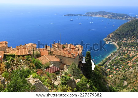 Eze village and Mediterranean Sea,  French Riviera - stock photo