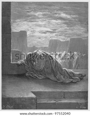 Ezra kneels in Prayer - Picture from The Holy Scriptures, Old and New Testaments books collection published in 1885, Stuttgart-Germany. Drawings by Gustave Dore. - stock photo