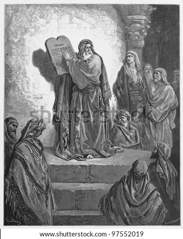 Ezra reads the Law to the Israelites - Picture from The Holy Scriptures, Old and New Testaments books collection published in 1885, Stuttgart-Germany. Drawings by Gustave Dore. - stock photo