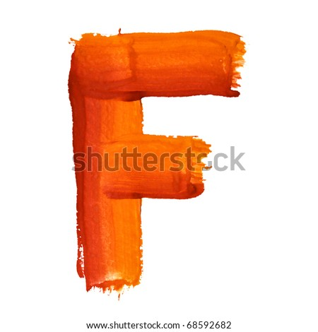 F - Color letters isolated over the white background