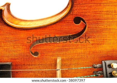F hole detail of viola - stock photo