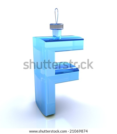 F letter on white background like Christmas toy - stock photo
