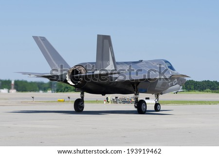 F-35 Lightning II Aircraft getting ready to take off - stock photo