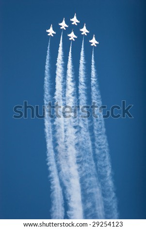 F16 thunderbirds at the airshow - stock photo