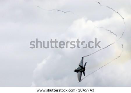 F-18 Vapor Trails - stock photo