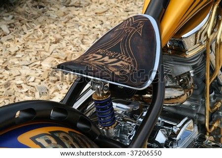 FAAKER SEE, AUSTRIA - SEPTEMBER 11: A detail of a custom motorcycle seat is shown at European Bike Week on September 11, 2009 in Faaker See, Austria. The event is billed as the largest European motorcycle event. - stock photo