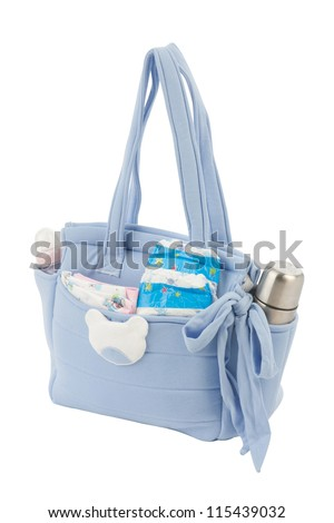 Fabric bag for mom to keep baby accessories - stock photo