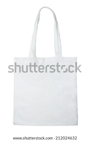Fabric bag isolated on white background - stock photo