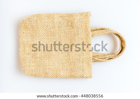 Fabric bag isolated on white background.