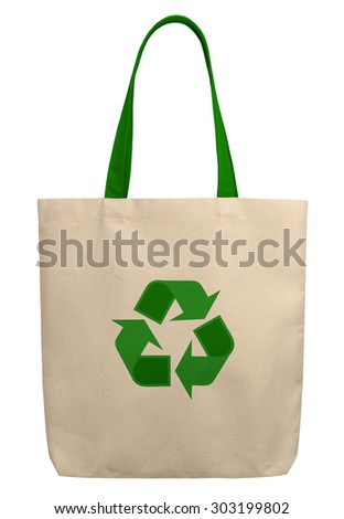 fabric bag with recycle sign - stock photo
