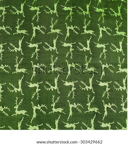 Fabric colors green, patterned texture deer. Photography Studio