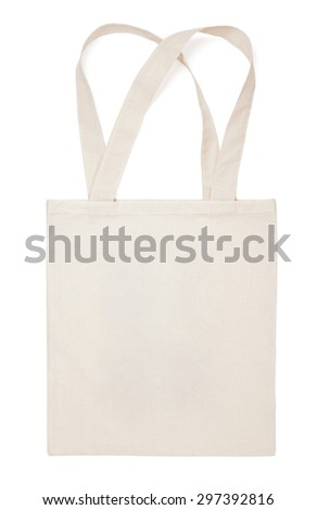 Fabric cotton bag isolated on white background - stock photo