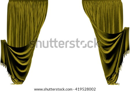 Fabric curtain. Isolated on white background. Include clipping path. 3D illustration.