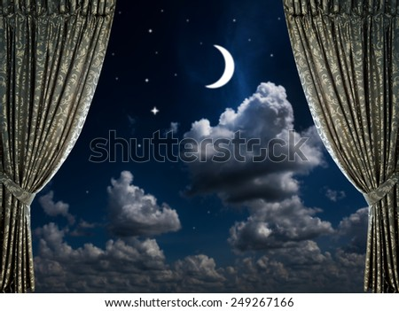 fabric curtains on a nigt sky background  - stock photo