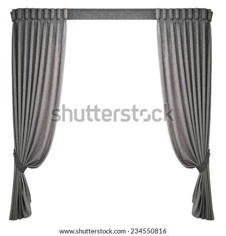 fabric curtains on a white background