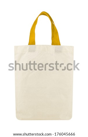 Fabric eco bag isolated on a white background - stock photo