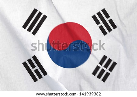 Fabric Flag of South Korea - stock photo