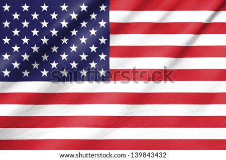 Fabric Flag of United States of America - stock photo