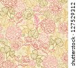 Fabric flowers seamless pattern background raster - stock photo