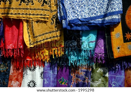 Fabric in the market - stock photo