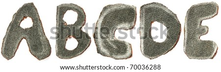 Fabric letters from a to e grey - stock photo