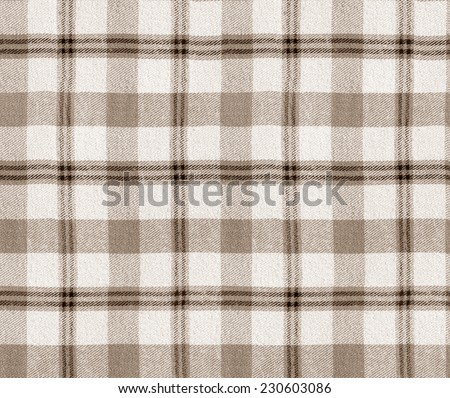 Fabric plaid texture. Cloth background. Plaid seamless pattern / Checkered Table Cloth Background. Brown color