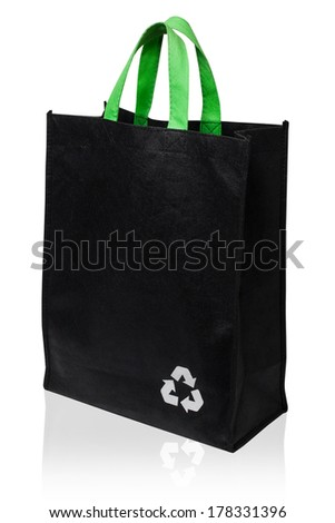 Fabric Recycle Bag Isolated On White Background - stock photo