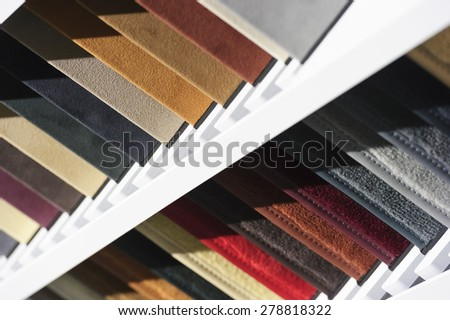 Fabric samples, upholstery and carpet textile examples for car interior  - stock photo
