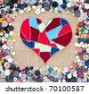 fabric scraps heart on texture background. Valentine's Day. Buttons frame - stock photo