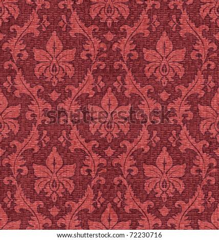 fabric seamless ornament Damask style in red and brown