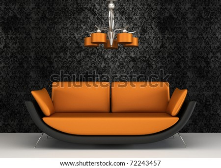 Fabric sofa in modern interior with pattern wallpaper - stock photo