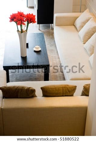 Fabric sofa in modern living room. - stock photo