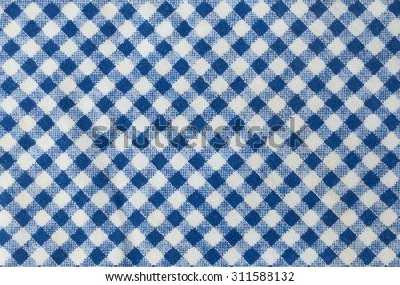 Fabric Texture, Close Up of Blue and White Lumberjack Plaid Towel or Napkin Pattern Background. - stock photo