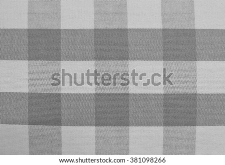 Fabric Texture, Close Up of Gray and White Lumberjack Plaid Towel or Napkin Pattern Background.