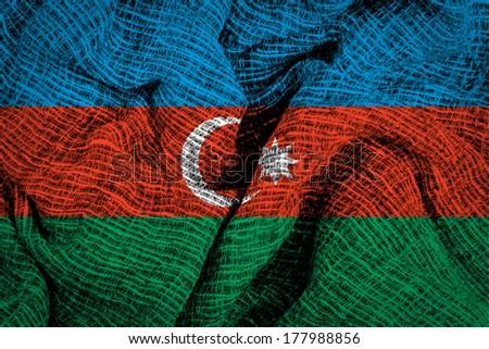 Fabric texture of the Azerbaijani flag  - stock photo