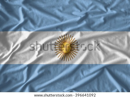Fabric texture of the flag of  Argentina - stock photo