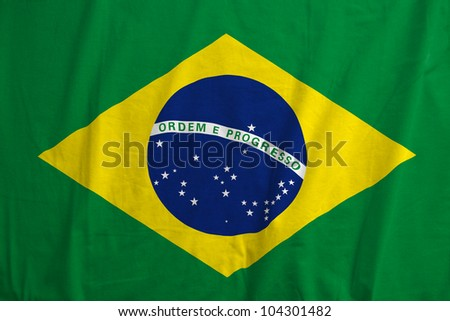 Fabric texture of the flag of Brazil - stock photo