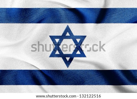 Fabric texture of the flag of Israel - stock photo