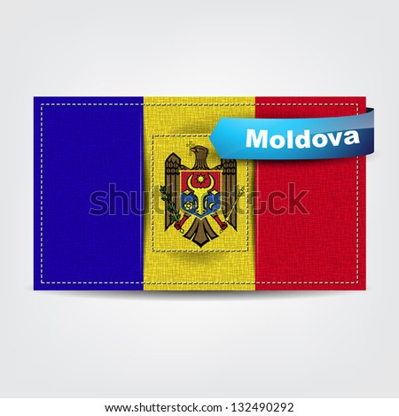Fabric texture of the flag of Moldova with a blue bow. (Raster from vector)