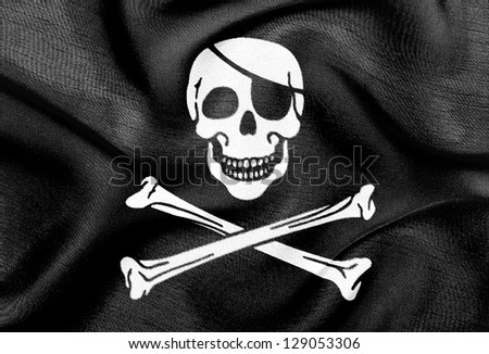 Fabric texture of the flag of Pirates - stock photo