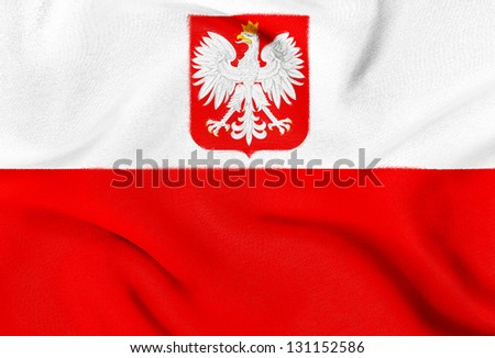Fabric texture of the flag of Poland - stock photo
