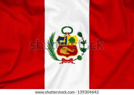 Fabric texture of the Peru flag - stock photo