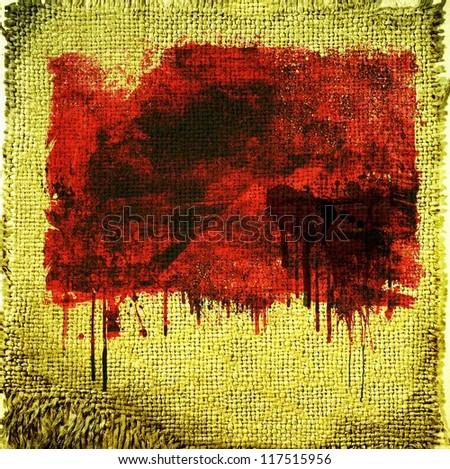 Fabric texture or background with red dripping painting
